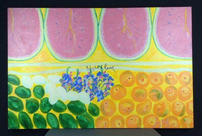 Food Watermelon Original Painting Wall Art Acrylic Kitchen Restaurant Lg Decor