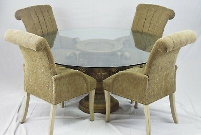 Neoclassical 5pc Traditional Round Glass Top Dining Room Table w 4 Chairs Set