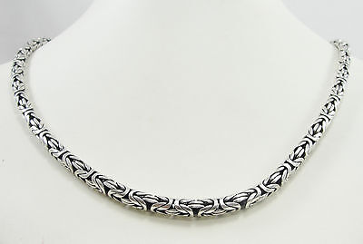 "Sterling Silver Byzantine Chain Necklace Bali Style Hook Eye Clasp 24.5"" Bali Style Hook Clasp"