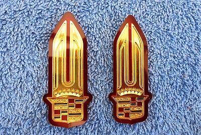NOS NEW Original OEM 85-91 Cadillac GOLD Tail Light Lens Emblem Ornament Inserts