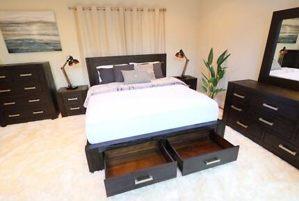 Hardwood Midnight Bed Frame (Queen/King) - Brand New