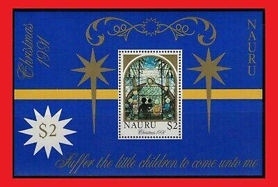 ZAYIX - 1991 Nauru 395 MNH - Christmas / Stained Glass Window souvenir sheet