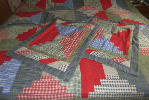 Queen / King COURTHOUE STEPS Pieced Quilt & 2 Shams *NICE*