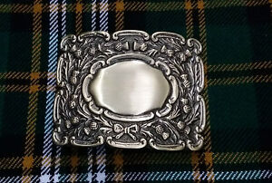 Men's Scottish Kilt Belt Buckle Scrolling Thistle Antique Finish/Piper Buckles