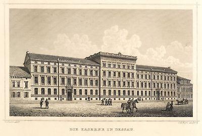 DESSAU - LEOPOLD-KASERNE - Lange - Stahlstich 1855-1862