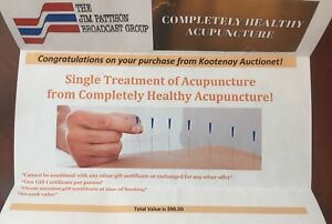 Acupuncture gift certificate, value $90