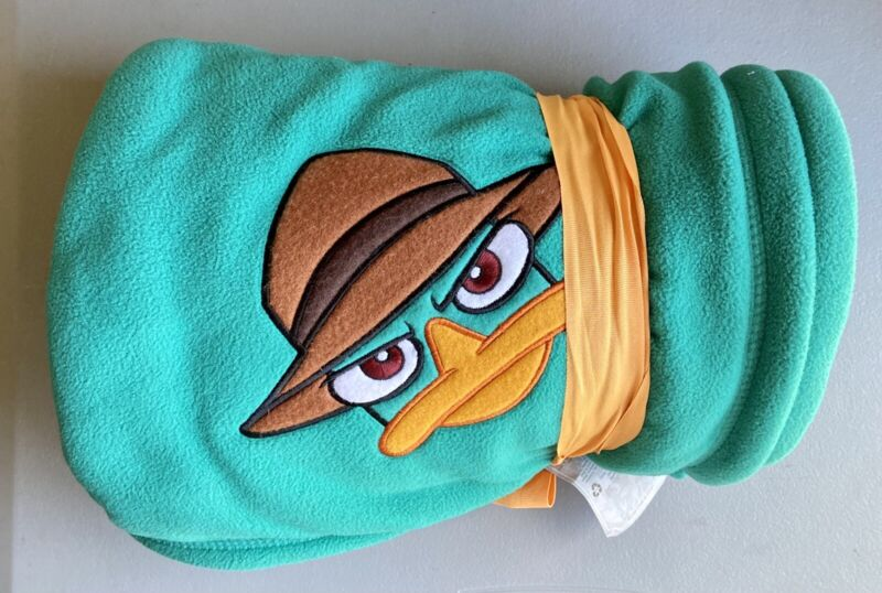 """Disney Store Phineas & Ferb PERRY the PLATYPUS Plush Throw Blanket 50""""x60"""" New"""