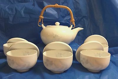 Tea Set Oriental White China with Delicate Blue Flowers 12 Pcs Pot Cups Covers