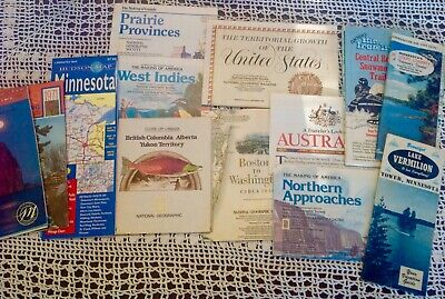 Lot 42 National Geographic and Minnesota Road Maps 1980s 1990s Vintage Laminated