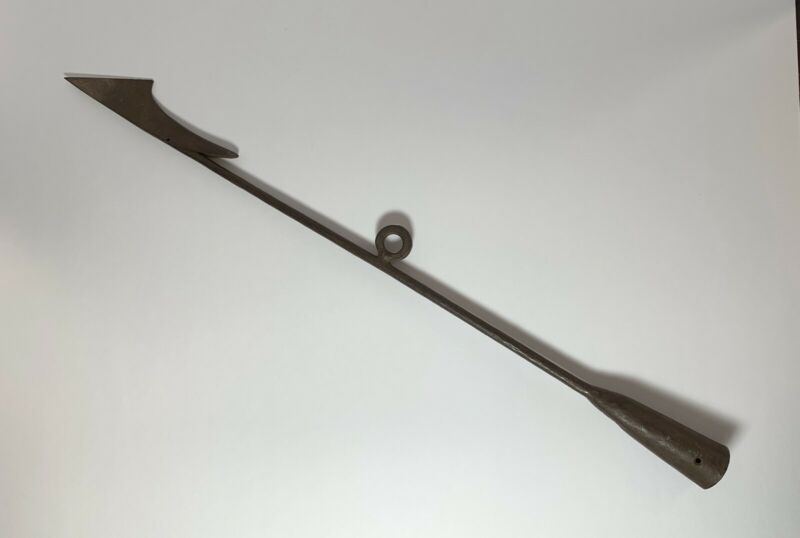 """Antique WHALING TOGGLE HARPOON 33 3/8"""" Long Wrought Iron 19th Century"""