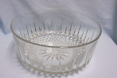 Vintage Arcoroc USA Bowl Diamond/Starburst Clear Cut Glass Salad/ Fruit Bowl