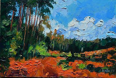 Forest Woods Impressionist Landscape Original Oil Painting Relief Impasto 8