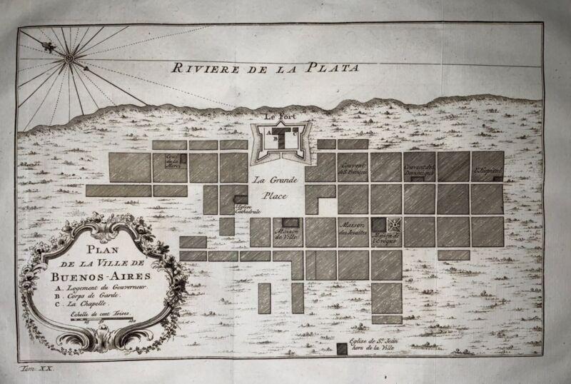 1757 Jacques Bellin Plan de Buenos-Ayres, Buenos Aires, Argentina