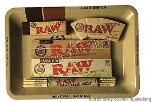 RAW Mini Rolling Tray + Kingsize Rolling Papers + Organic + Tips + Bamboo Mat