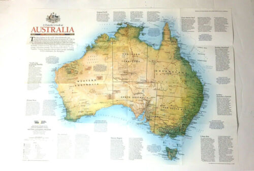 National Geographic Australia Map February 1988 Paper Poster Educational