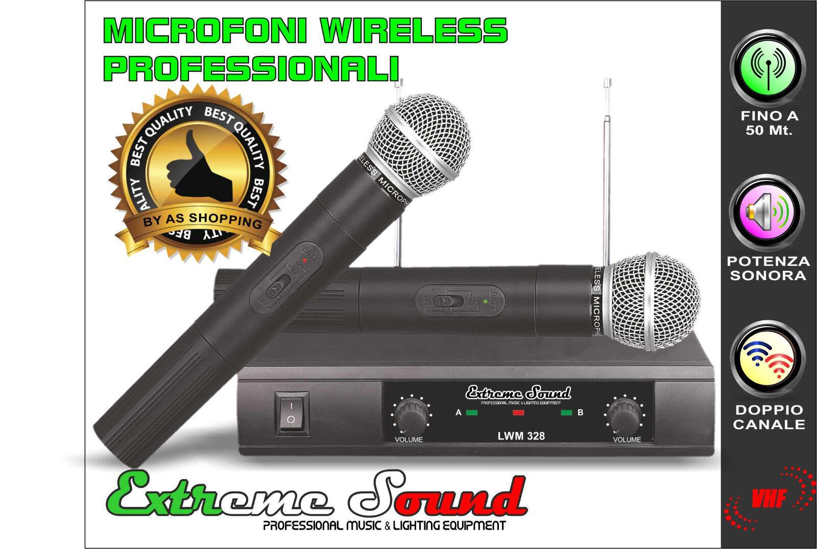 KIT Radio Microfoni PROFESSIONALI VHF EXTREME SOUND Senza Fili Wireless LWM-328