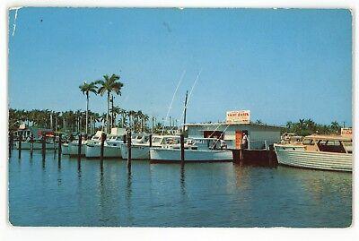 Yacht Basin Fishing Boats BOYNTON BEACH FL Vintage Florida Postcard