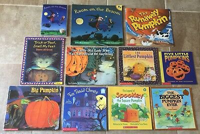 Lot of Halloween & Fall pumpkin Children's Picture Books + Room on The Broom DVD