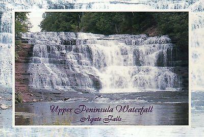 Agate Falls - Michigan Waterfall Upper Peninsula, MI Cascade - Scenic Postcard