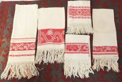 Antique Turkey Red Linen Damask Towel Fringed Lot of 5 Show Towels