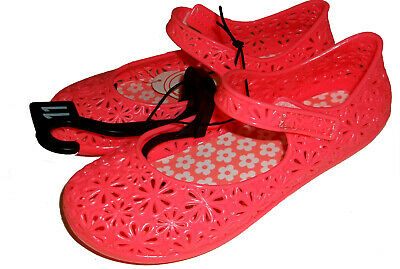 NEW Toddler Girls Wonder Nation Coral Pink Mary Jane Jelly Flats Shoes Size 11 - Pink Toddler Flats