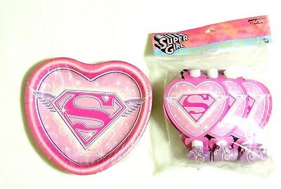 8- DESSERT PLATES & 8 BLOWOUTS , PARTY SUPPLIES (Super Girl Party Supplies)