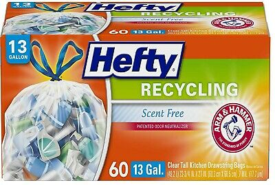 Hefty Recycling Tall Kitchen Trash Bags Clear 13 Gallon 60 Count