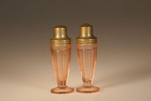 Vintage Jeannette Glass Pink Adam Salt & Pepper Set c.1935