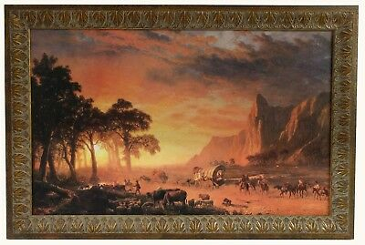 - Albert Bierstadt The Oregon Trail  Custom Framed Canvas Transfer Beautiful Frame