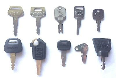 10pc Heavy Equipment Key Set Case Cat Hitachi Jd Komatsu Kubota Takeuchi