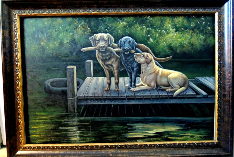 "OIL PAINTING ""GOOD OLE BOYS HAVING FUN"" BY HESTER 36"" X 24"" *HELP SAVE ANIMALS*"