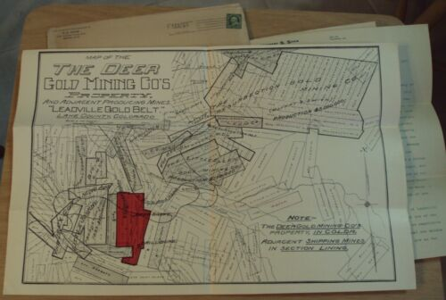 "ORIGINAL 1901 INVESTMENT Prospectus Lot~""THE DEER GOLD MINING CO"" Colorado~MAP~"