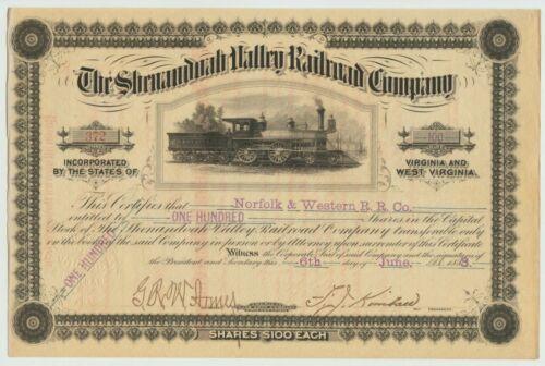 1883 Shenandoah Valley Railroad Company Stock Certificate Virginia