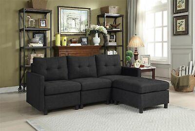 Living Room Furniture Modish Sectional Modern Reversible Chaise Sofa Black