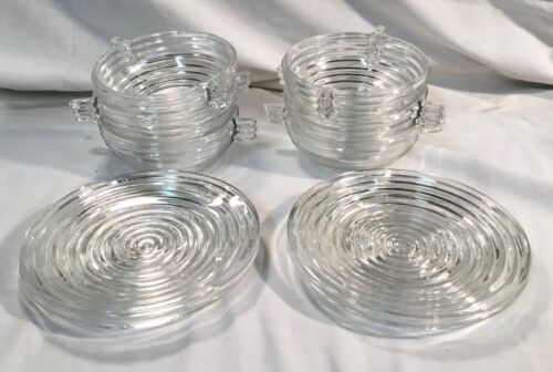 Vintage 10 Pcs. Manhattan Clear Ribbed Glass Berry Bowls &Bread & Butter Plates