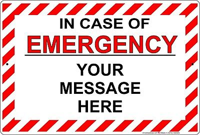 In Case Of Emergency Aluminum Metal Sign Customizepersonalized