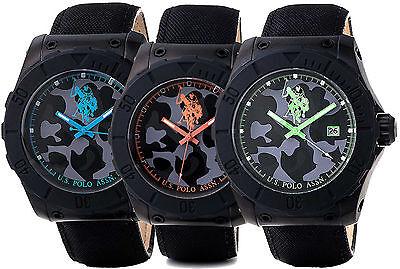 Armbanduhr US Polo assn Voyager schwarzem stoff informationen blau grün