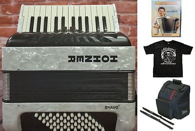 Hohner Bravo II 48 Bass White Piano Accordion Acordeon +Bag, Straps, Shirt, DVD