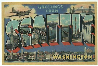 Greetings from Seattle Washington, Airplane, City - Modern Large Letter Postcard