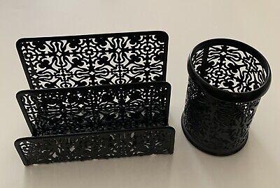 Desk Organizer Set Of 2 - Letter Sorter And Pencil Cup - Black Metal Floral