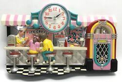 Vintage Retro Soda Shop Wall Clock Sock Hop 21 X 14 X 2.3/4 USA Made RARE!!