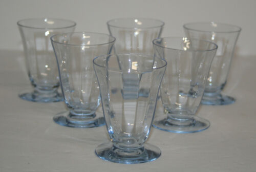 Set of 6 Fostoria Blue Fairfax footed whiskey tumblers - P&I paid