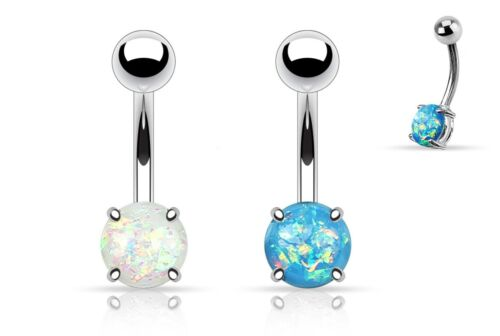 2pcs White Opal and Blue Opal Glitter Prong Set Belly Navel Rings 14g