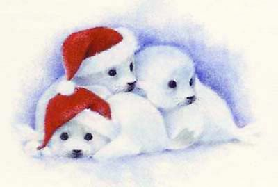 Christmas Baby Seal Seals Santa Hat Select-A-Size Waterslide Ceramic Decals Tx