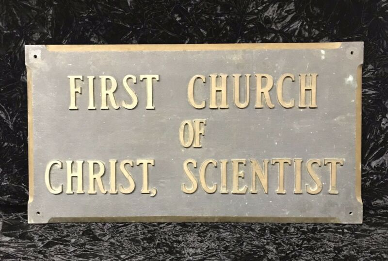 Antique Bronze Church of Christ Scientist Christian Science Building Sign Plaque