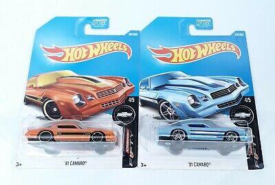 Hot Wheels 81 Camaro Lot of 2 Camaro Fifty Orange Blue