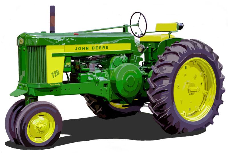 John Deere Model 720 farm tractor canvas art print by Richard Browne