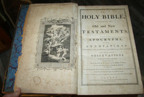 """1784 ENORMOUS  antique Holy Bible **16 1/2"""" tall **"""