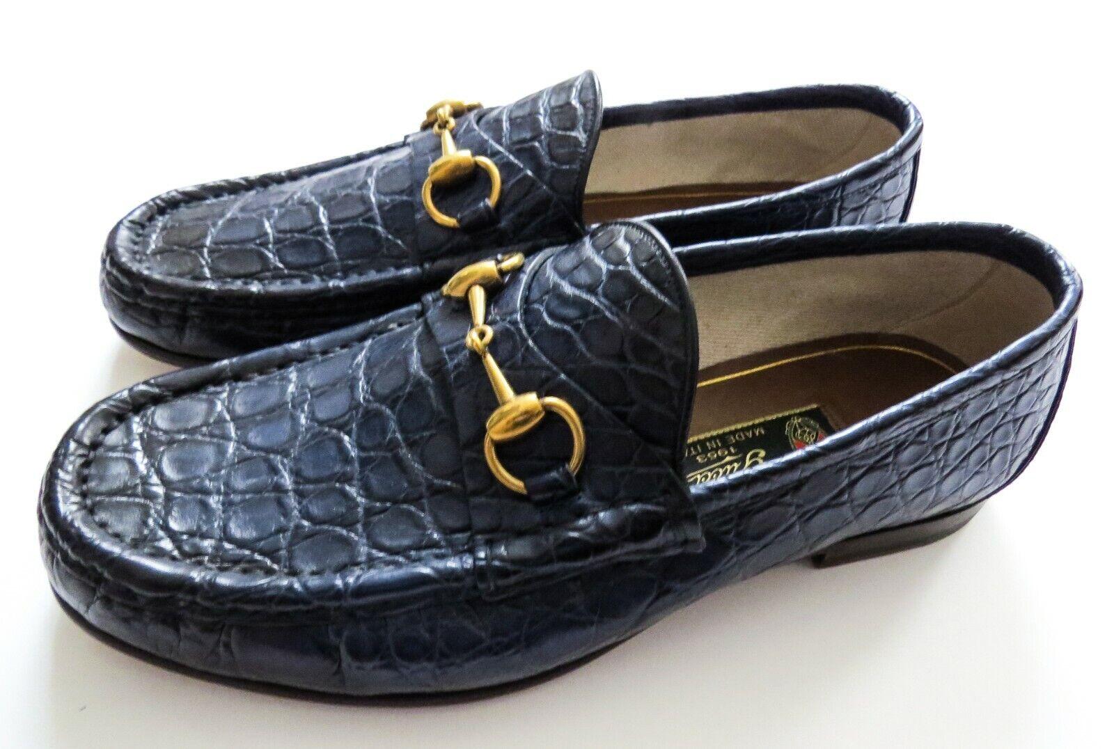GUCCI Blue Crocodile Alligator Leather Horsebit Shoes Size 7 US 40.5 Euro 6.5 UK
