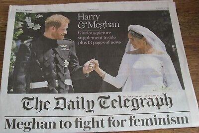 The Daily Telegraph Royal Wedding Harry Megan  Newspaper May 20 2018.